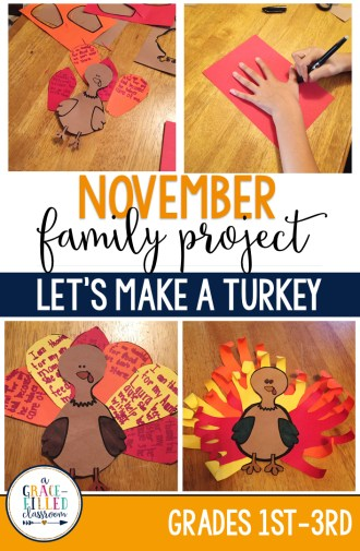 My students and their families really enjoy family projects because it gives them an opportunity to work together (without anyone pulling out their hair.)These projects are easy to prep and have everything needed for it run successfully. The only thing you need to provide for this project is the construction paper and the turkey body!