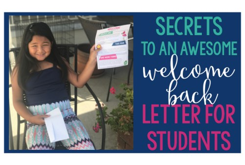 Write a welcome back letter to your students as you head back to school this fall!