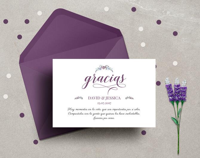 tarjeta de agradecimiento boda