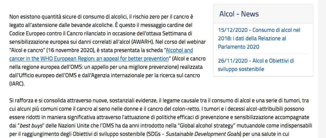 Alcol e cancro: per Oms e Iarc non esistono quantità sicure