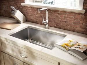 Zuhne Modena 32 Inch Undermount Deep Single Bowl 16 Gauge Stainless Steel Kitchen Sink