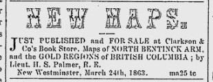 George Clarkson, as partner of Hibben & Carswell, runs Colonial Bookstore (New Westminster) as Clarkson & Co.