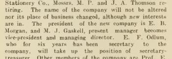 Thomson Stationery sold to Gaskell, Odlum, Stabler
