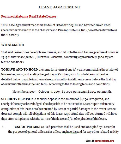 Alabama Lease Agreement Sample Alabama Lease Agreement Template