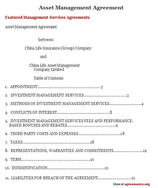 Asset Management Agreement Sample Asset Management Agreement Template
