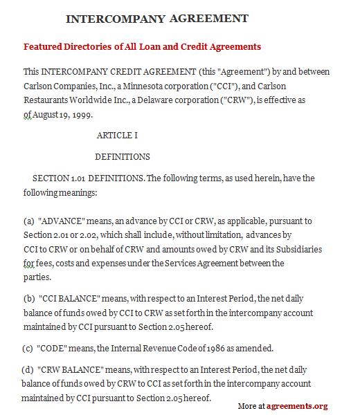 Intercompany Agreement Sample Intercompany Agreement Template