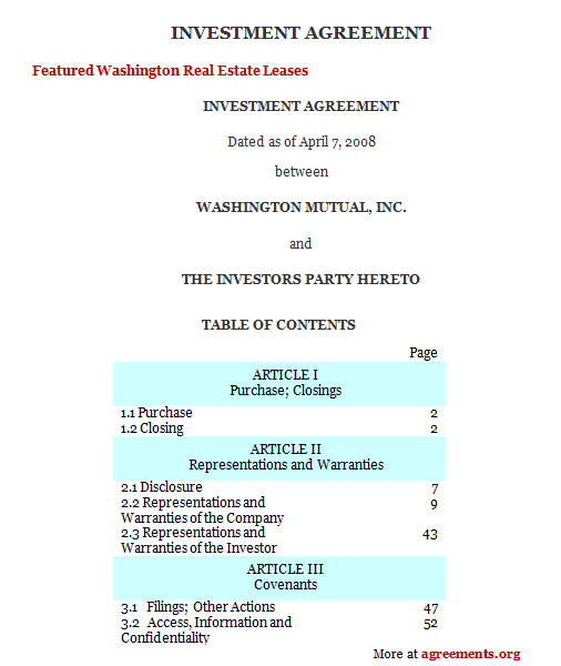 Investment Agreement Sample Investment Agreement Template