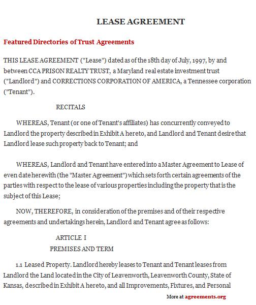 Kansas Lease Agreement Sample Kansas Lease Agreement Template