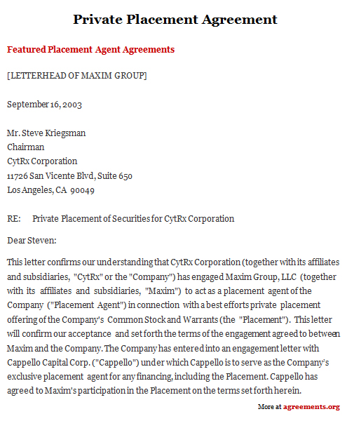 Private Placement Agreement Sample Private Placement