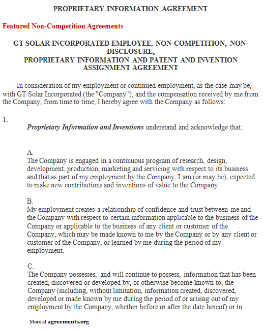 Proprietary Information Agreement Sample Proprietary