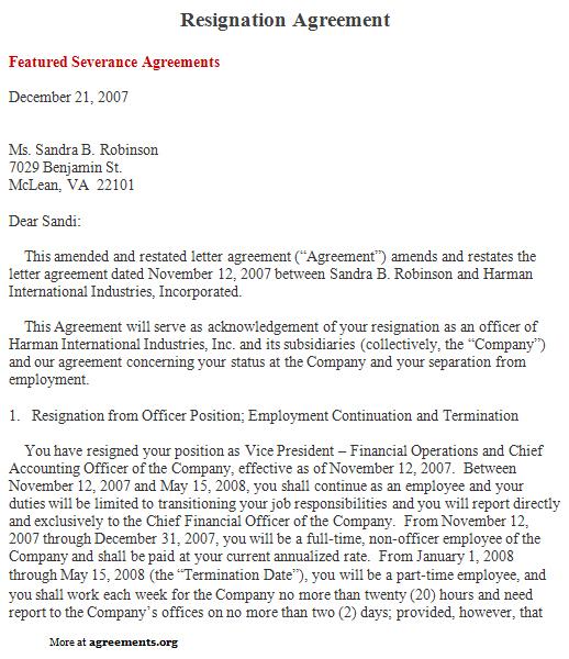 resignation letter content
