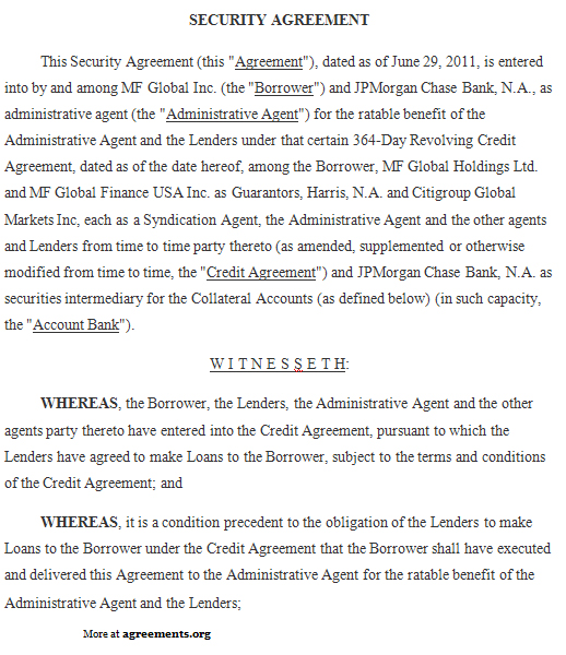 Security Agreement Sample Security Agreement Template