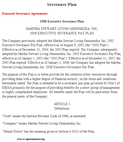 Severance Plan Agreement Sample Severance Plan Agreement