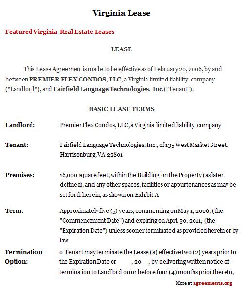 Virginia Lease Agreement, Sample Virginia Lease Agreement