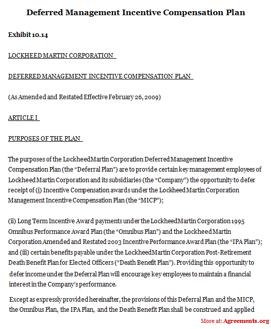 Deferred Management Incentive Compensation Plan Sample