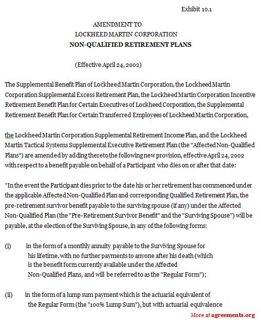 Non-Qualified Retirement Plans Agreement. Sample Non-Qualified Retirement Plans Agreement