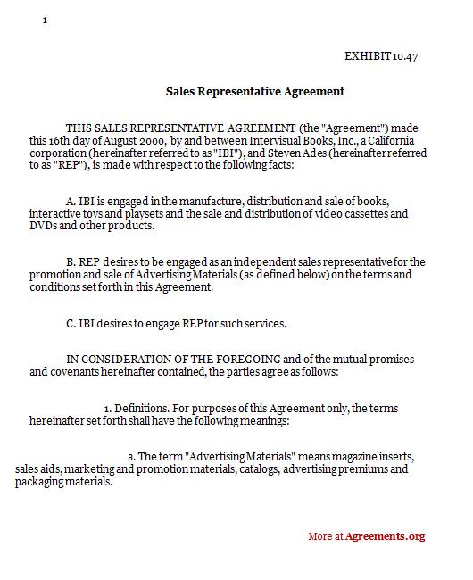 Sales Representative Agreement Sample Sales Representative