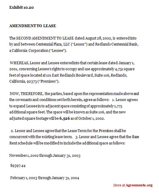 Amendment To Construction Department Lease Sample