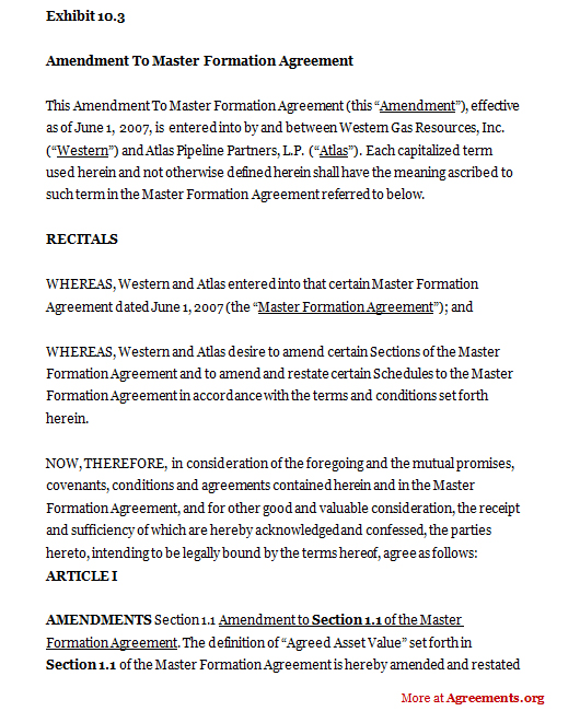 Amendment To Master Formation Agreement Sample Amendment