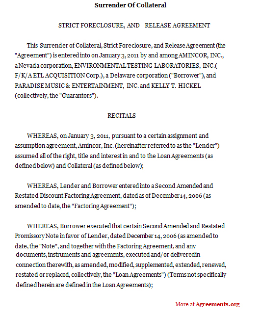 Surrender Of Collateral Agreement Sample Surrender Of