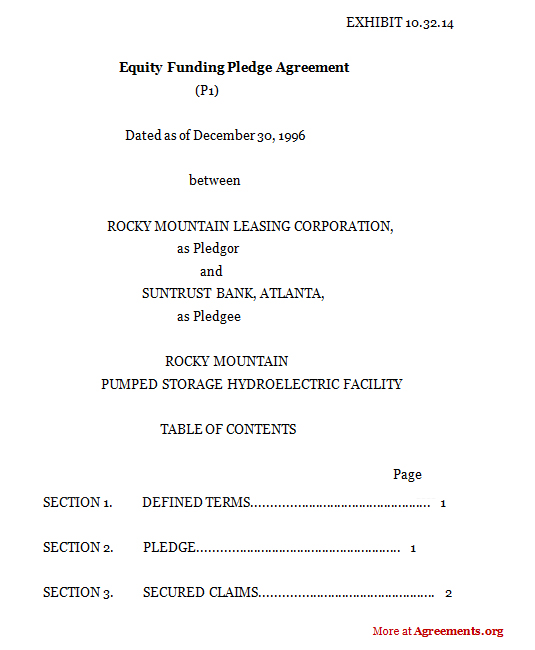 Equity Funding Pledge Agreement Sample Equity Funding