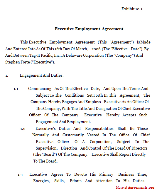 Executive Employment Agreement Sample Executive Employment