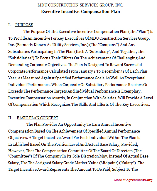 Executive Incentive Compensation Plan Agreement Sample