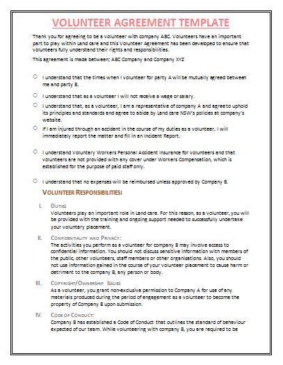 Volunteer agreement template