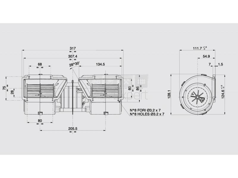 Ventilateur cabine tracteur New-Holland 82002761, 82004366