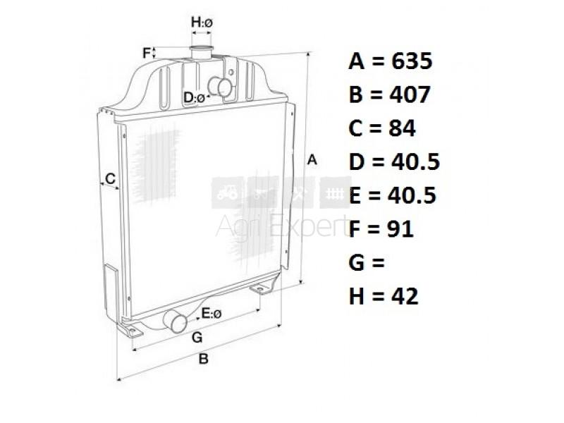 1876606M4 radiateur massey-ferguson 30D, 265, 275, 285