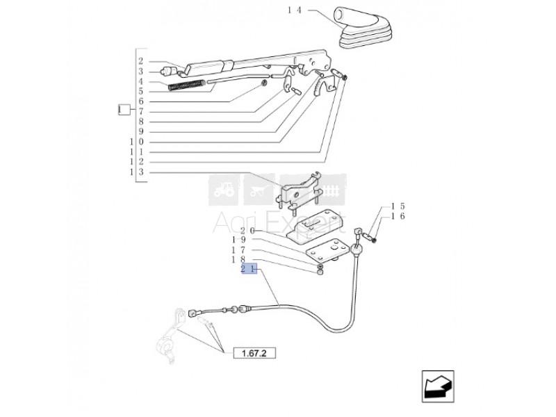 Câble de commande frein Tracteur Case New-Holland
