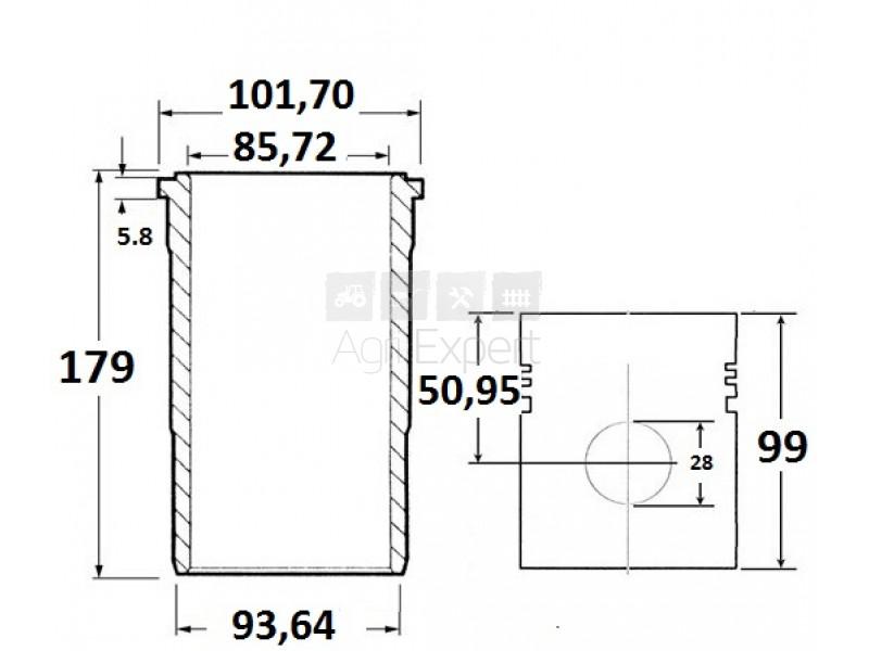 Cylindre piston complet moteur IH BD144, 751604R92