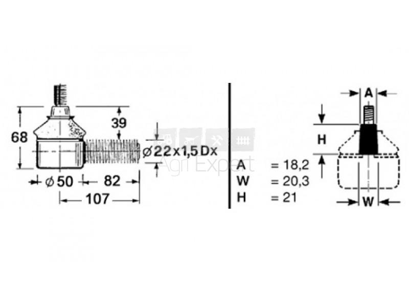 7700693255 Rotule de direction tracteur Renault 551, 651