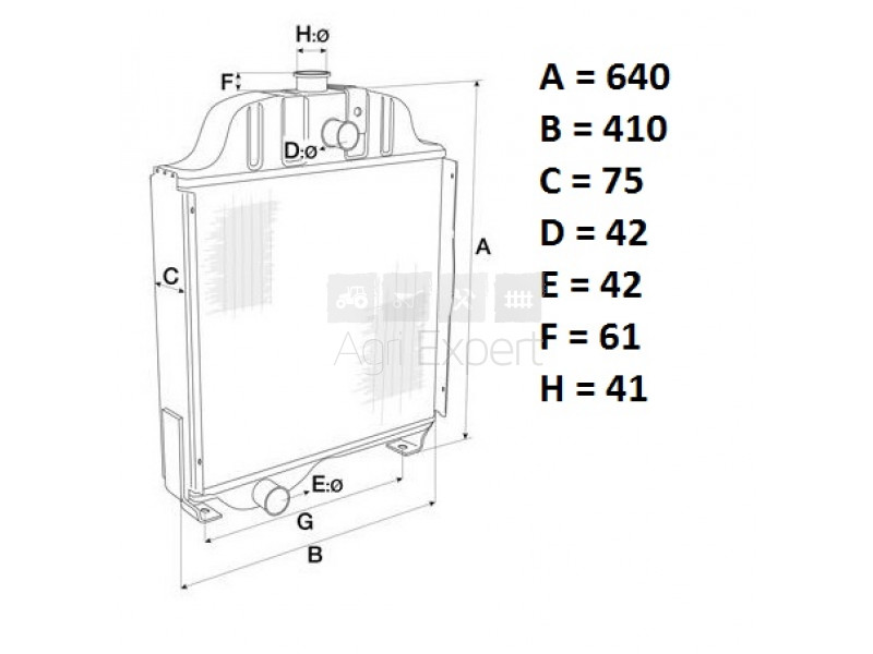 Radiateur de refroidissement tracteur Massey-Ferguson 50