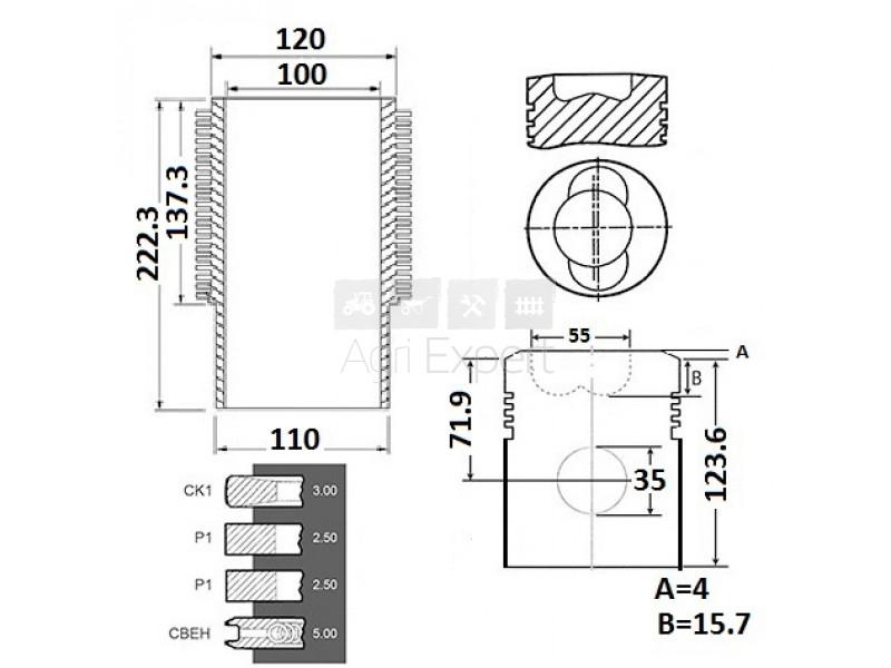 Cylindre piston moteur Deutz FL912 4 segments