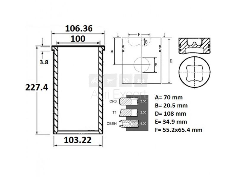 Chemise piston moteur Perkins 1004.4, 1006.6, 3637661M91