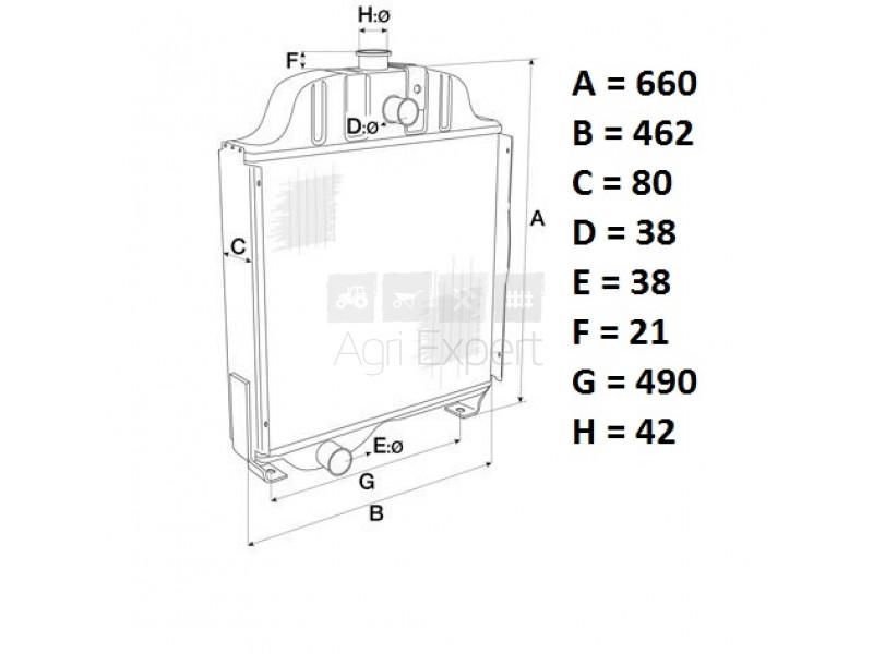 Radiateur de refroidissement David Brown 990, 995, 995G