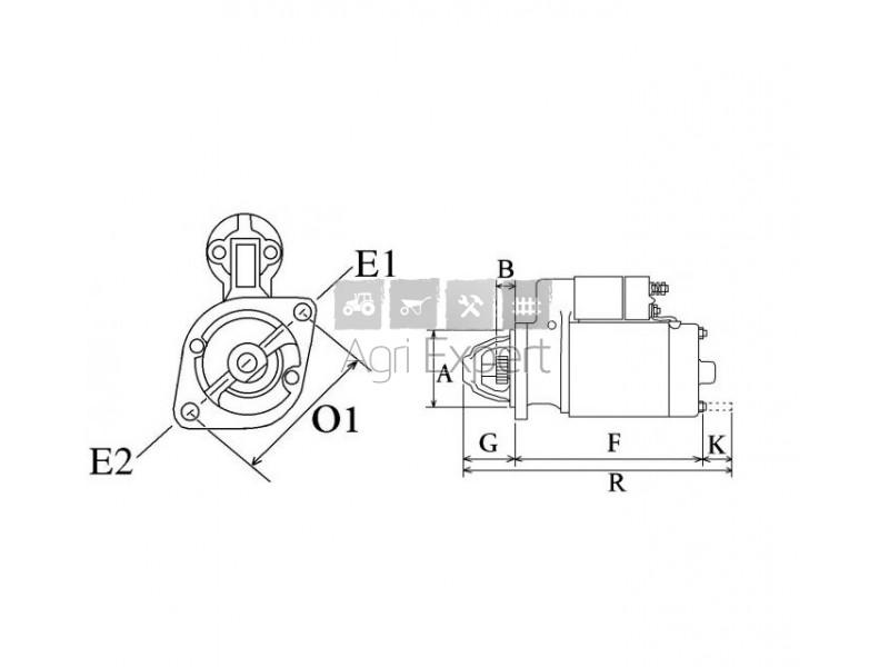 1546163010 Démarreur moteur Kubota L2000, L225, L2250 DT