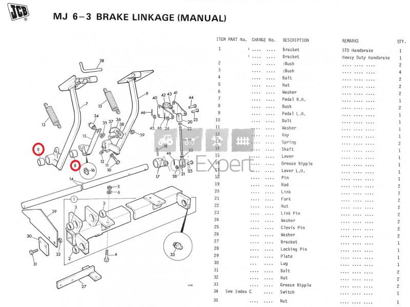 ATJ1095 Bague de pedale de frein tractopelle JCB 2, 2B, 2D