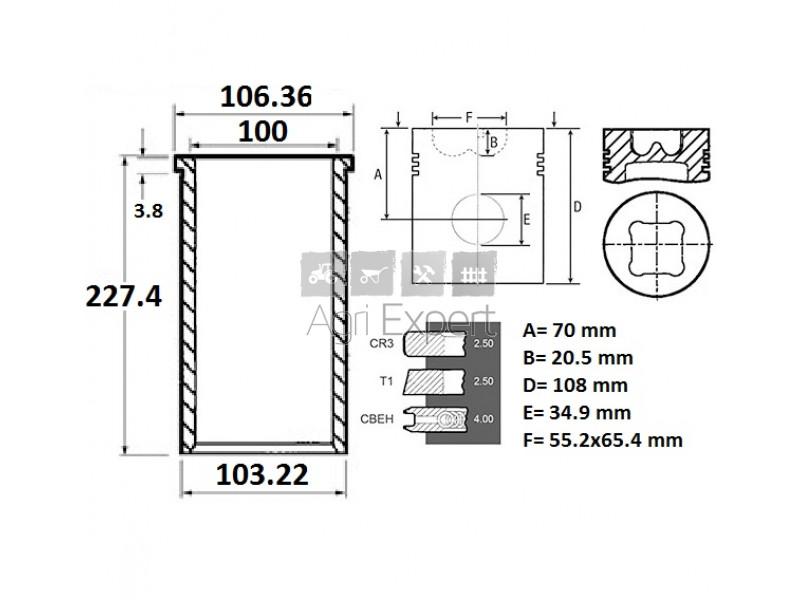 Kit révision moteur Perkins 1006.6, U5MK0319, U5MK0714