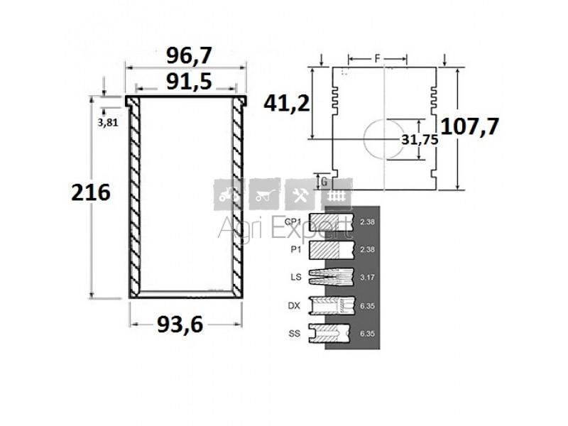 Restauration moteur Perkins A4-203, MF65, Piston 82136