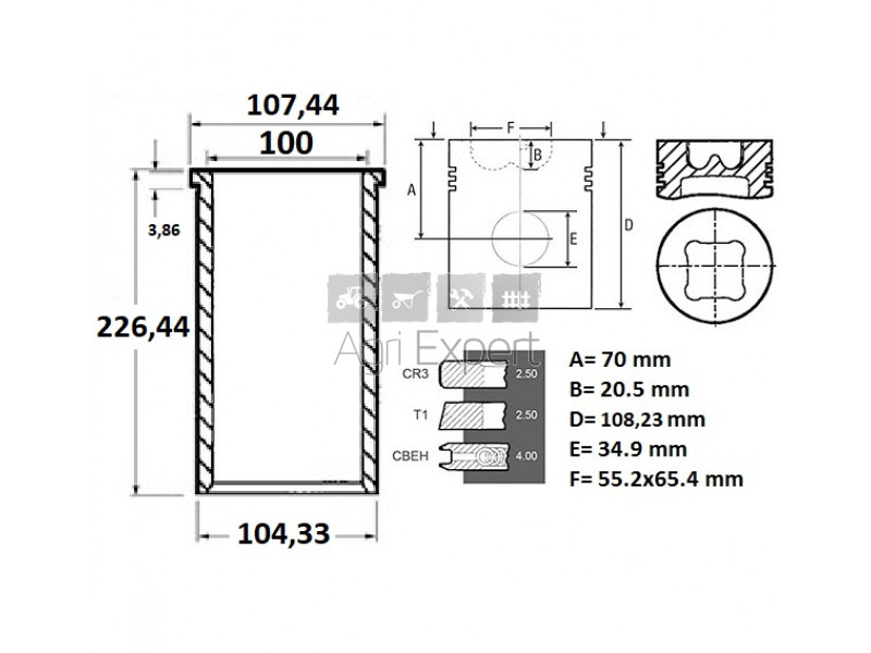 U5MK0708, U5MK0142, 3637661M91 Kit de révision moteur