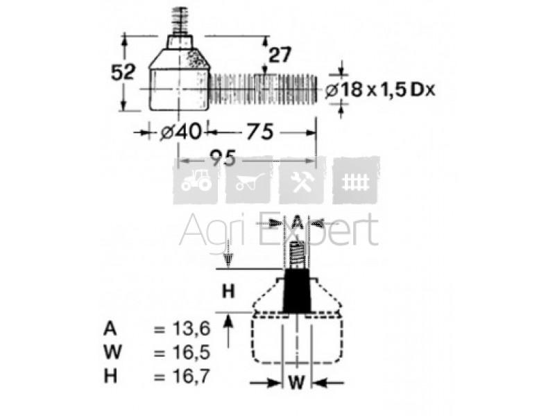 001.4026.4, 00140264 Rotule de direction tracteur Same
