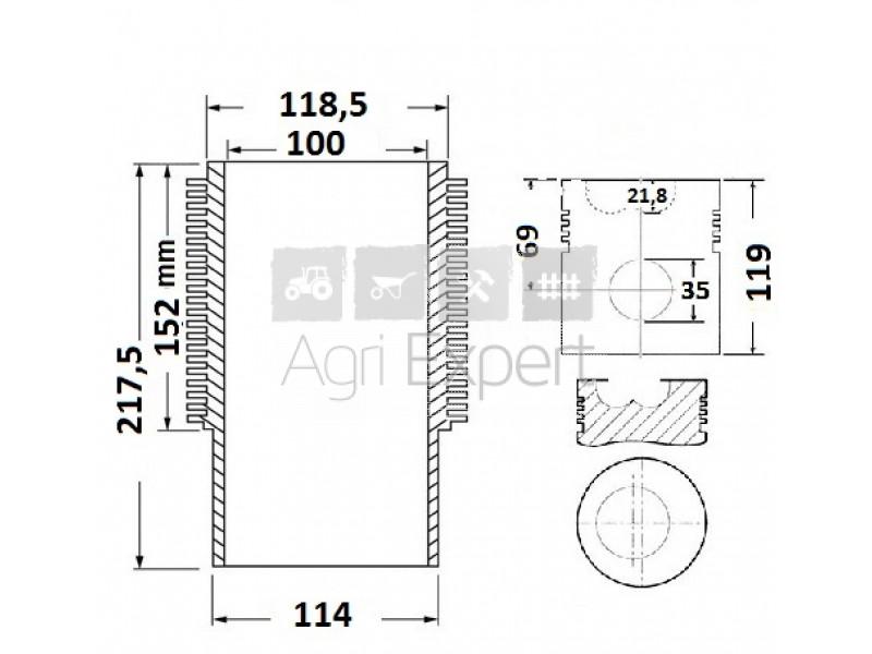 0.072.0065.6 Cylindre piston moteur SAME type 1003P, 1004P