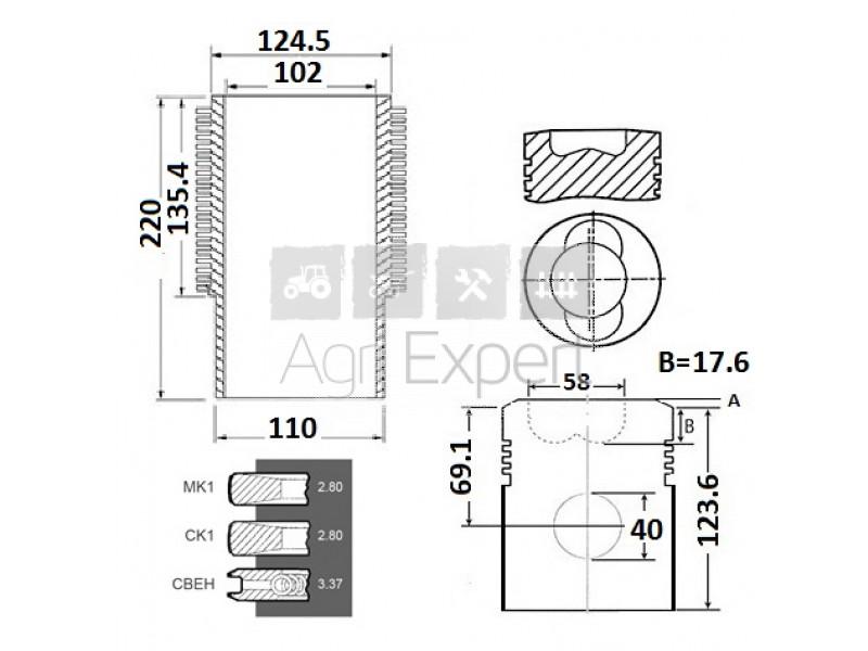 02928713, 02929990 Cylindre piston tracteur Deutz Fahr