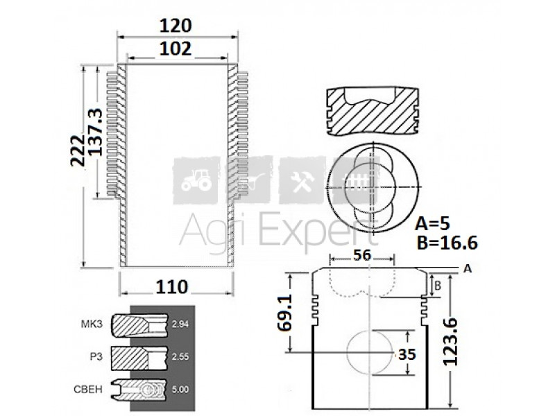 Kit rénovation Deutz F5L913, 02931313, 02929649, 02910183