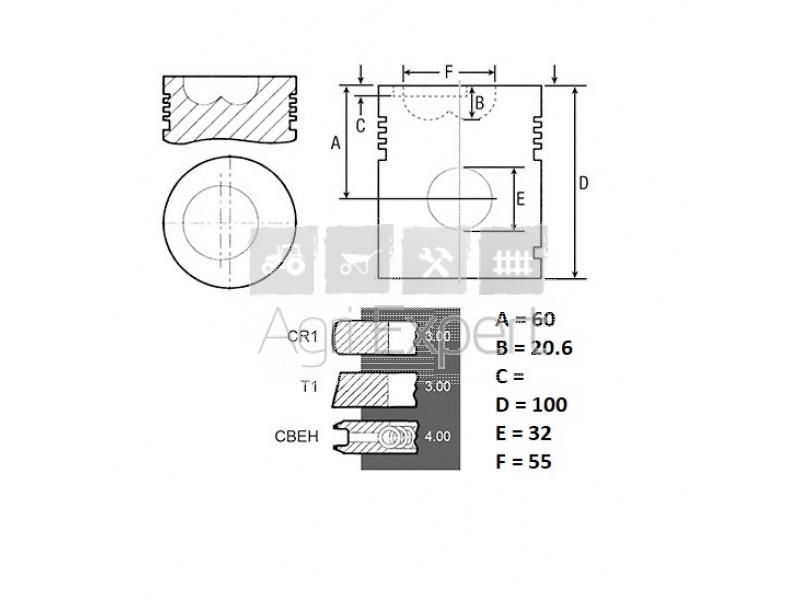 Chemise piston moteur SAME 916.3.A, 916.4.A, 1000.4.A1
