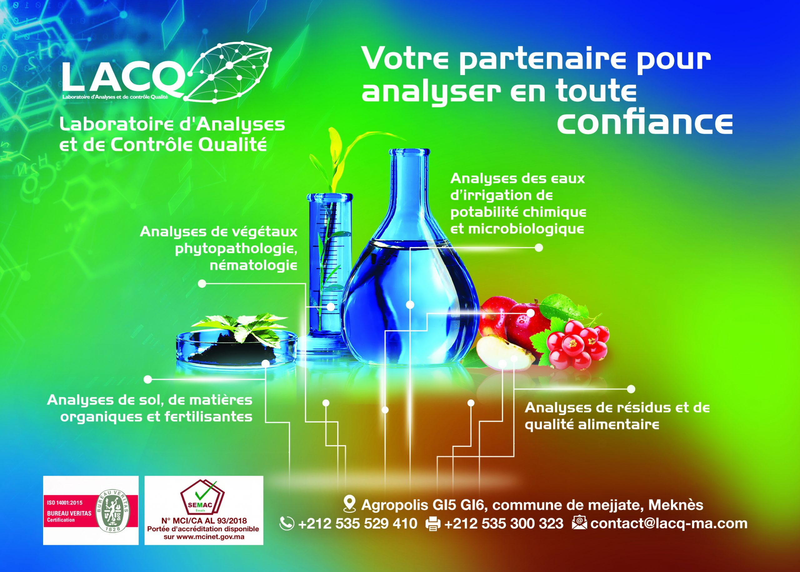 Accréditation du Laboratoire d'Analyses et de Contrôle Qualité  par le SEMAC