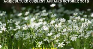 Agriculture Current Affairs October 2018