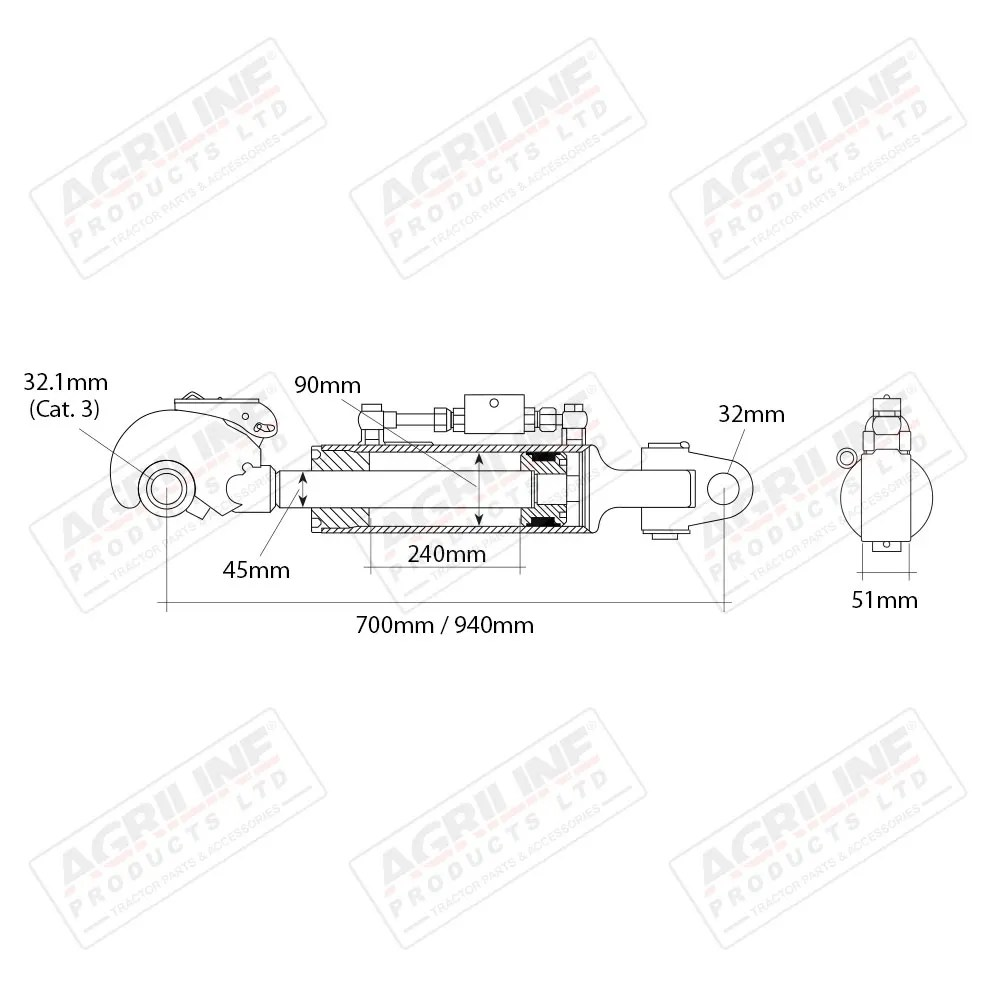 Hydraulic Top Link Kit (Cat. 3) with Knuckle/ Hook Ends